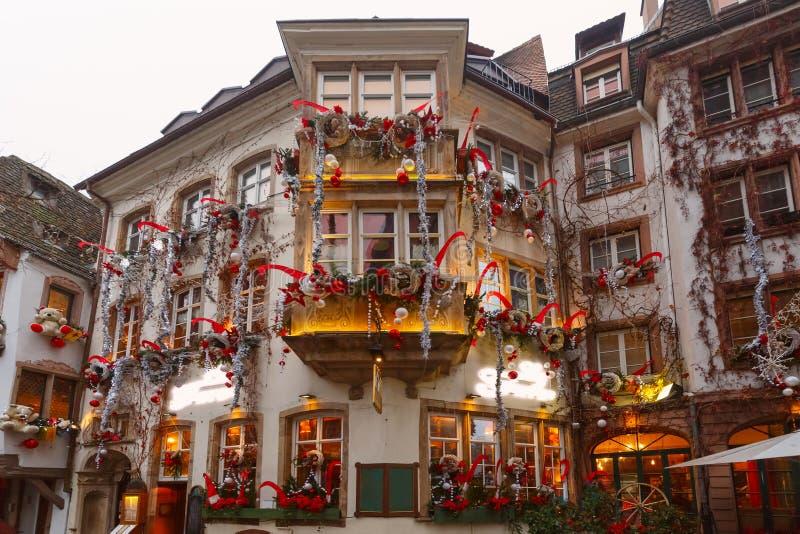 Julgata i Strasbourg, Alsace, Frankrike arkivfoto