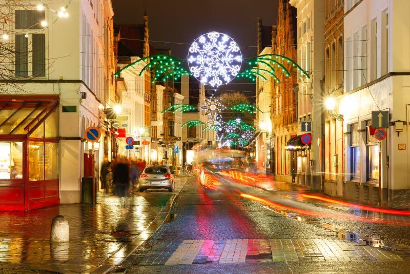 Julgata på Bruges, Belgien royaltyfria foton