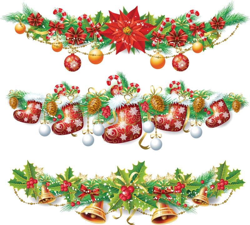 Julgirland vektor illustrationer