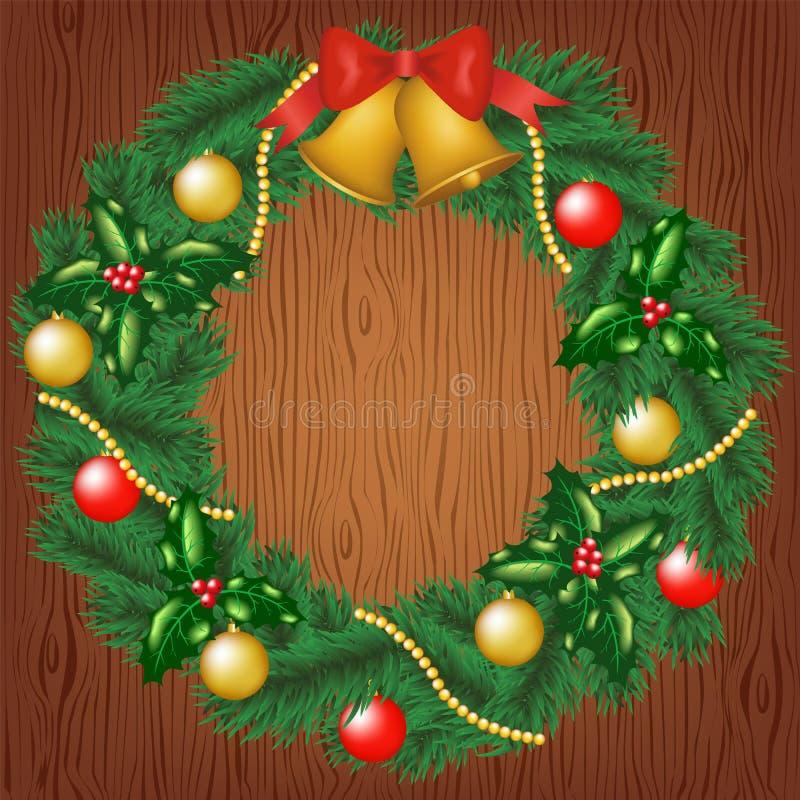Julgirland på wood bakgrund stock illustrationer