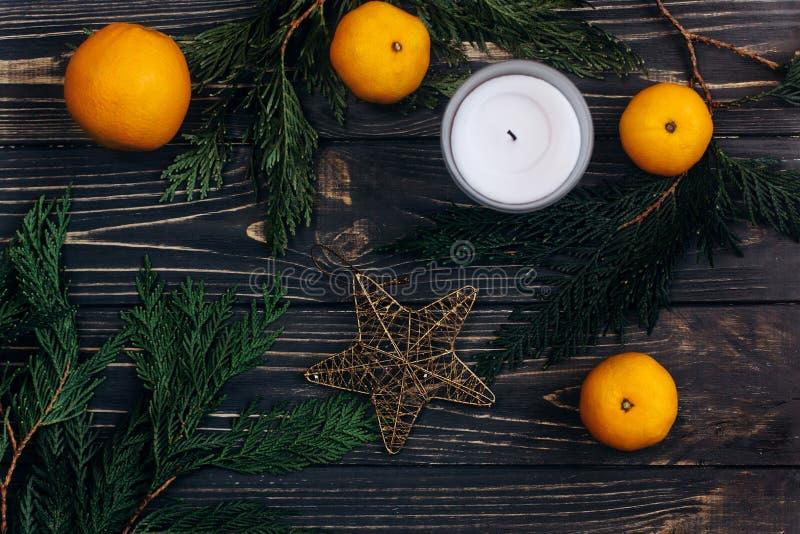 Julgräsplanfilialer och apelsiner och guld- stjärna på svart ru arkivbilder