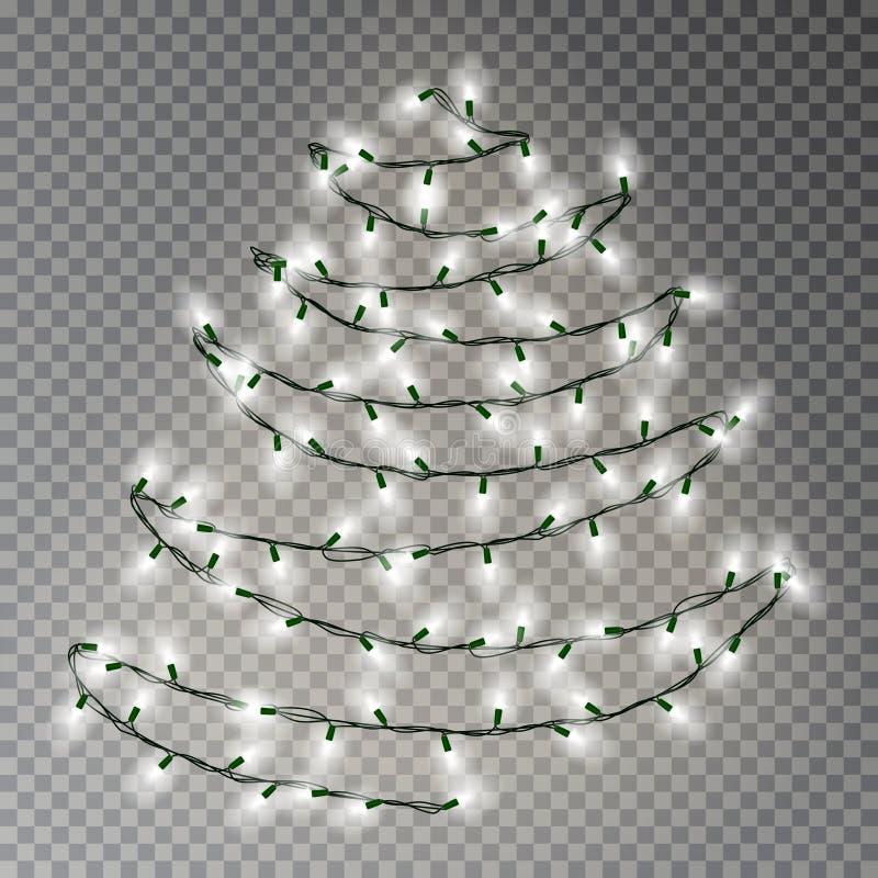 Julgran av rad för vita ljus Genomskinlig effektgarnering som isoleras på mörk bakgrund Beträffande vektor illustrationer