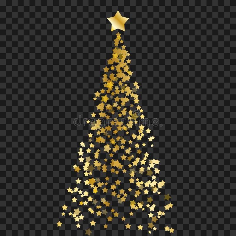 Julgran av stjärnor på den genomskinliga bakgrunden Guld- julgran som symbol av det lyckliga nya året, ferie cel för glad jul stock illustrationer
