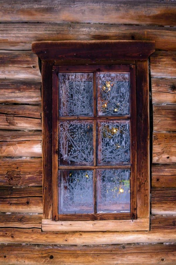 Julgran bak fönstret i journalväggen av en gammal byggnad royaltyfria bilder