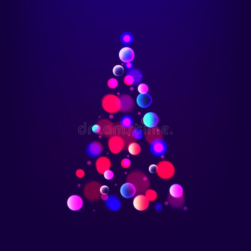 Julgran för abstrakt begrepp för materielvektorillustration av ljus och bokeh Glödande gran background card congratulation invita vektor illustrationer