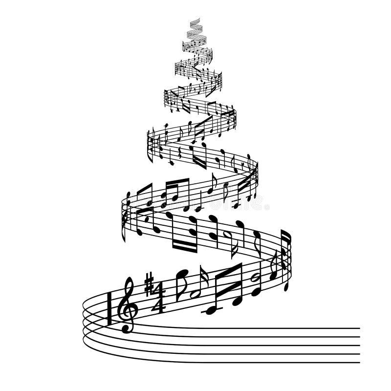 Julgran för vektormusikställning royaltyfri illustrationer