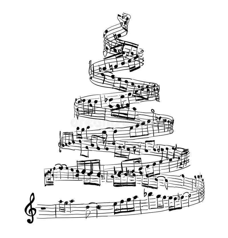 Julgran från musikanmärkningar royaltyfri illustrationer
