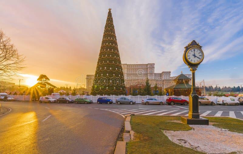 Julgran framme av parlamentbyggnadshuset, Bucharest, Rumänien royaltyfri fotografi