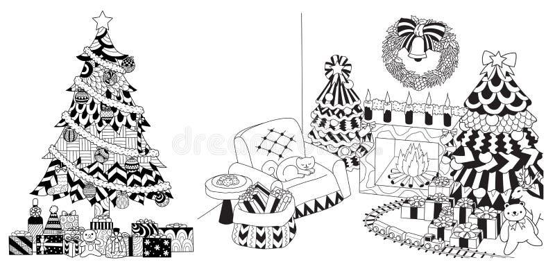 Julgran, gåvor och prydnader som drar uppsättningen vektor illustrationer