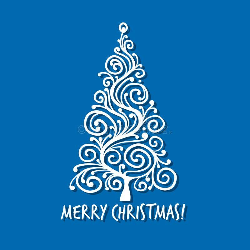 Julgran hälsningkort för din design vektor illustrationer