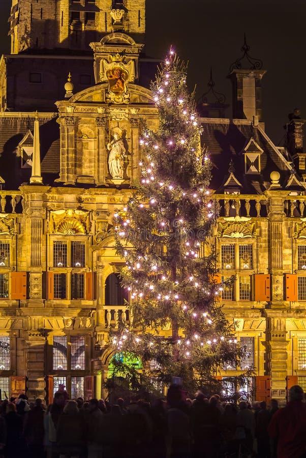 Julgran i delftfajans, Nederländerna royaltyfri bild