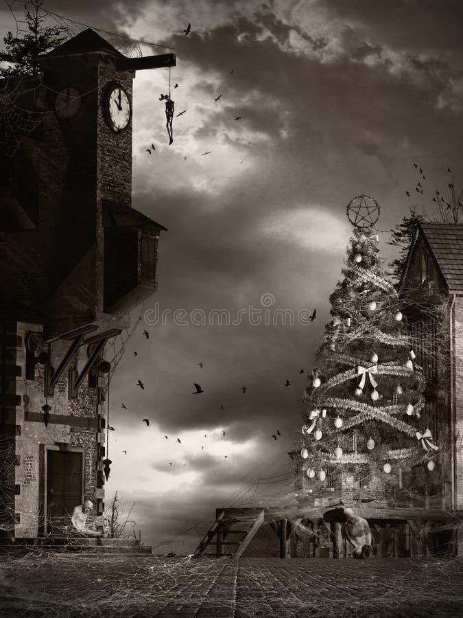Julgran i den fördömda byn royaltyfri illustrationer