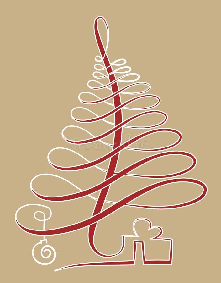 Julgran i en linje vektor illustrationer