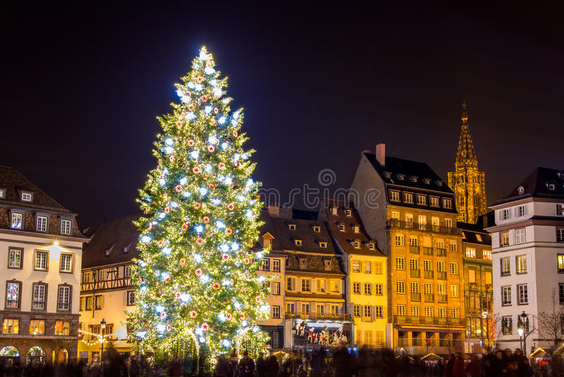 Julgran i Strasbourg arkivbilder