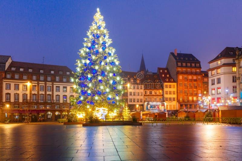 Julgran i Strasbourg, Alsace, Frankrike royaltyfria foton