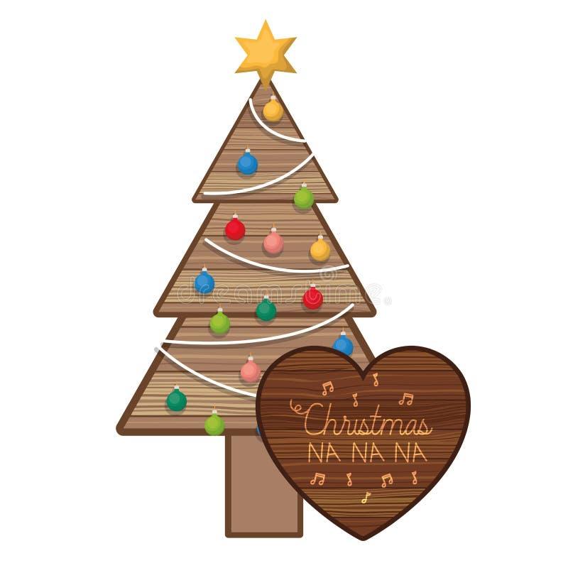 Julgran i trä med hängande bollar royaltyfri illustrationer