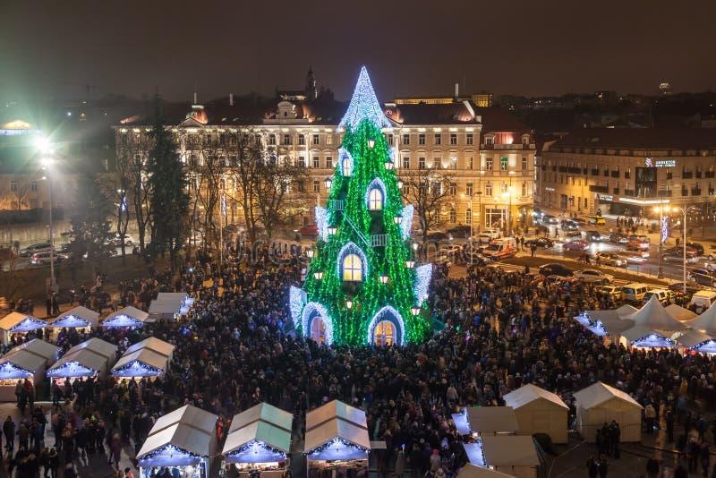 Julgran i Vilnius royaltyfria foton
