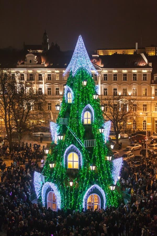 Julgran i Vilnius royaltyfria bilder