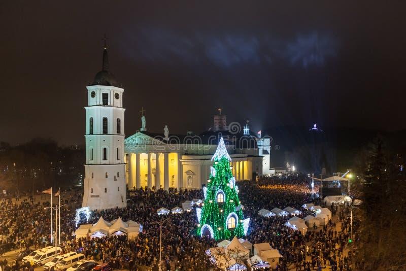 Julgran i Vilnius royaltyfri fotografi