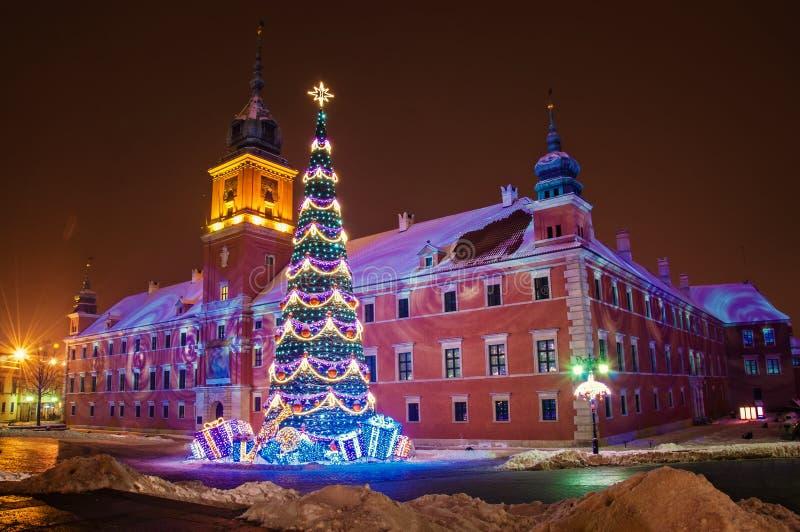 Julgran i Warszawa royaltyfri foto