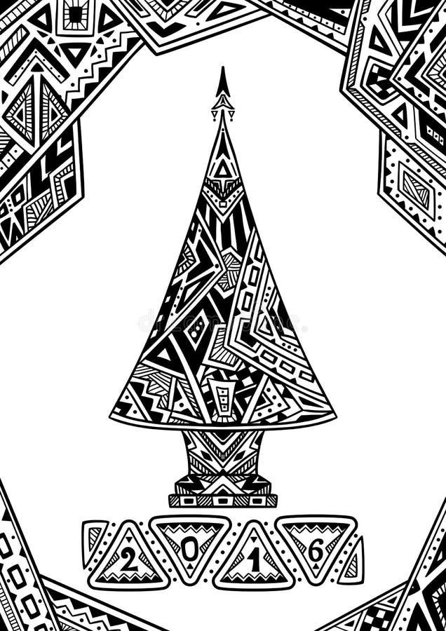 Julgran i Zen-klotter stilsvart på vit stock illustrationer