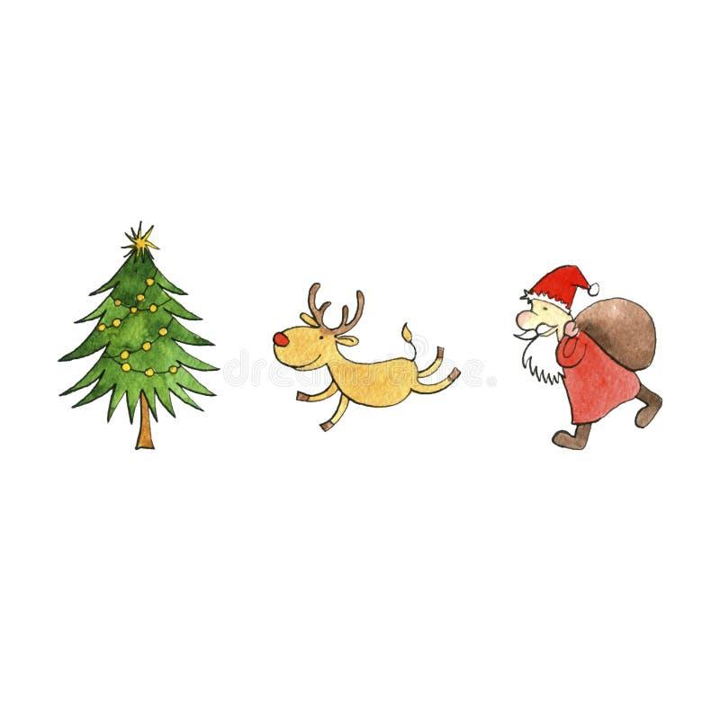 Julgran, jultomten och hjortar stock illustrationer