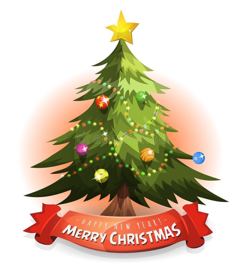 Julgran med önskabanret royaltyfri illustrationer