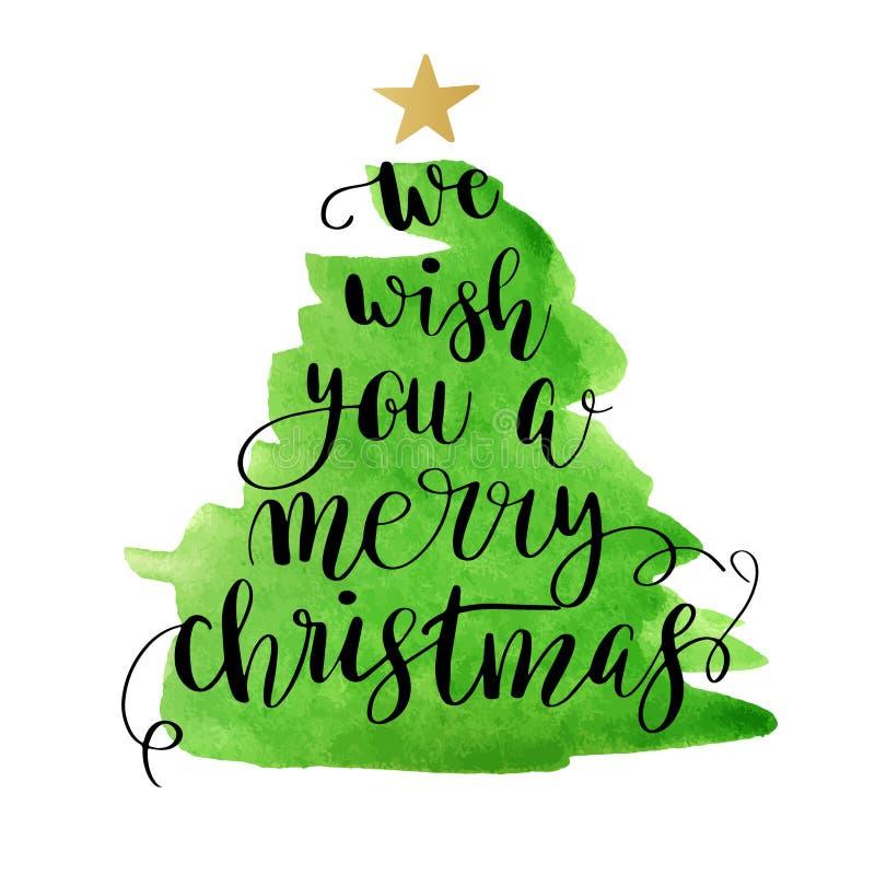 Julgran med att märka glad jul stock illustrationer
