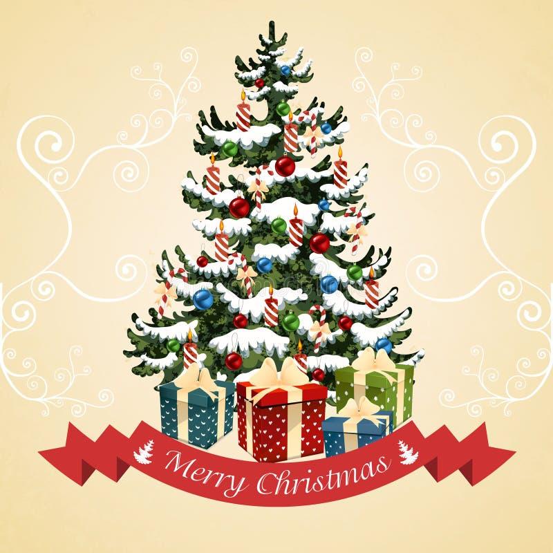 Julgran med bollar, godisen, gåvor och stearinljus klaus santa för frost för påsekortjul sky stock illustrationer
