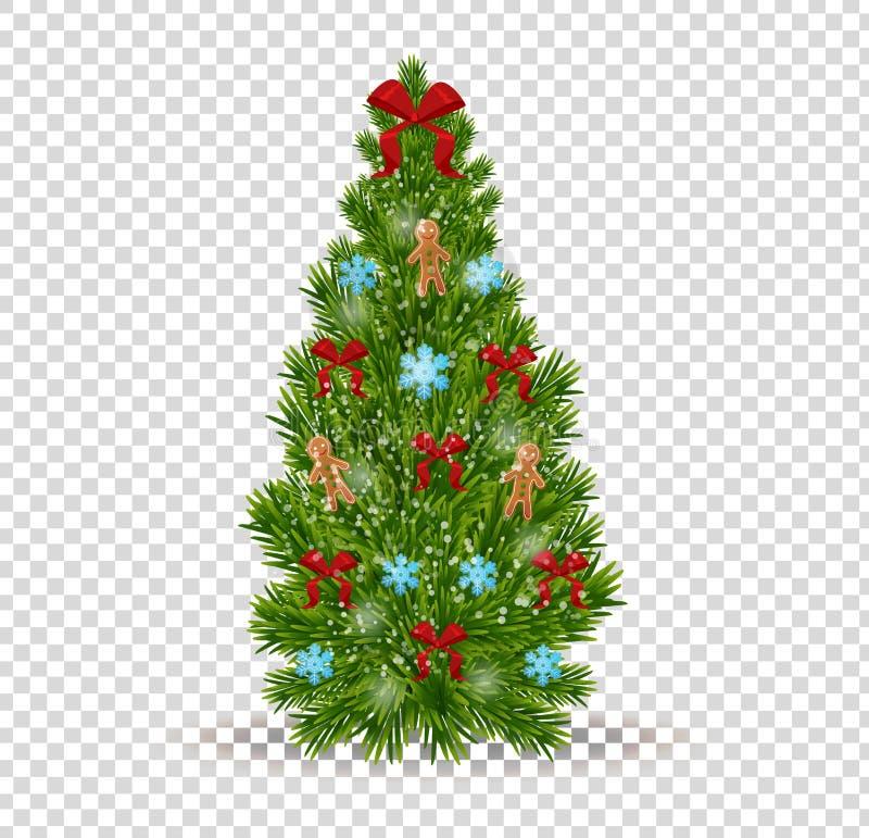 Julgran med den dekorativa pilbågen, snöflingor, leksaker, garneringar, festliga girlander stock illustrationer
