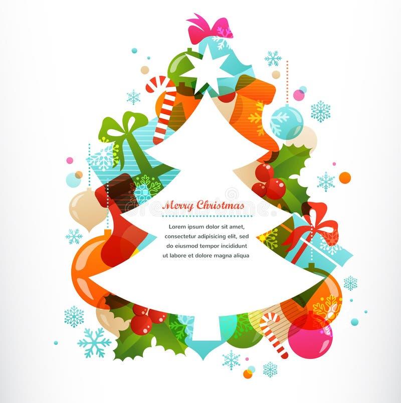 Julgran med etiketter och dekorativa beståndsdelar royaltyfri illustrationer