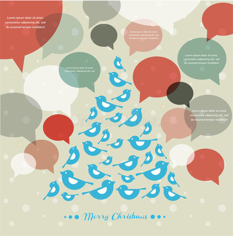 Julgran med fåglar och anförandebubblor vektor illustrationer