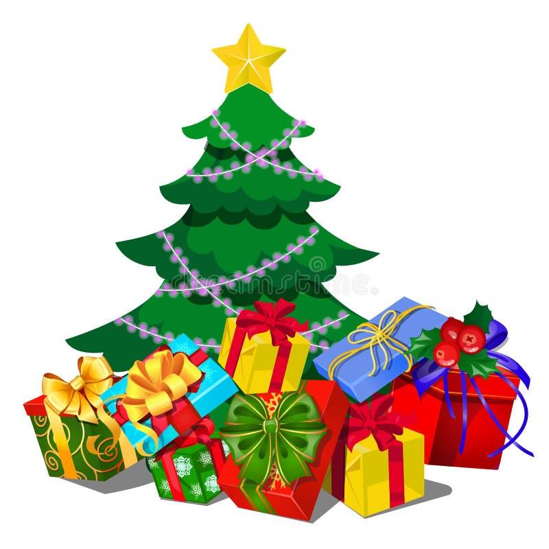 Julgran med garneringar, gåvaaskar, struntsaker, bandpilbåge som isoleras på vit bakgrund Skissa av jul royaltyfri illustrationer
