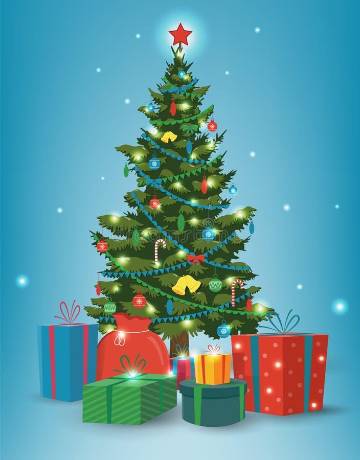Julgran med garneringar och gåvaaskar bakgrundsfärger semestrar röd yellow Glad jul och lyckligt nytt år vektor royaltyfri illustrationer