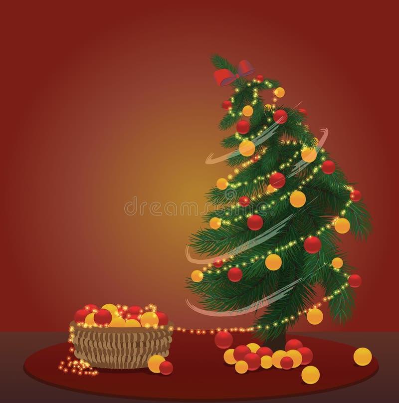 Julgran med korgen mycket av julgarneringar royaltyfri illustrationer