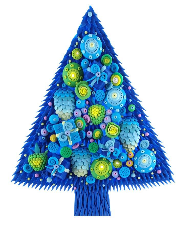 Julgran med prydnader, arkivfoto