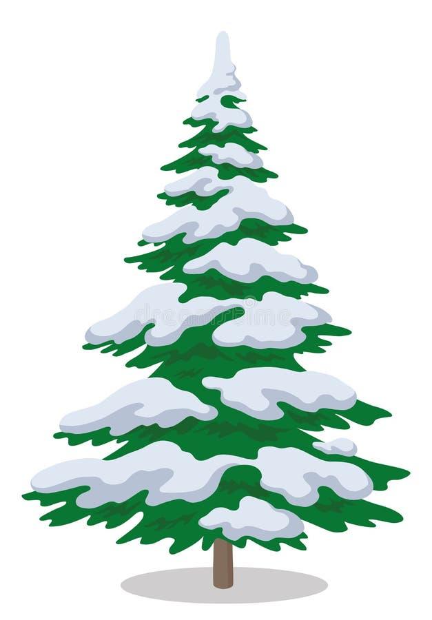 Julgran med snow vektor illustrationer