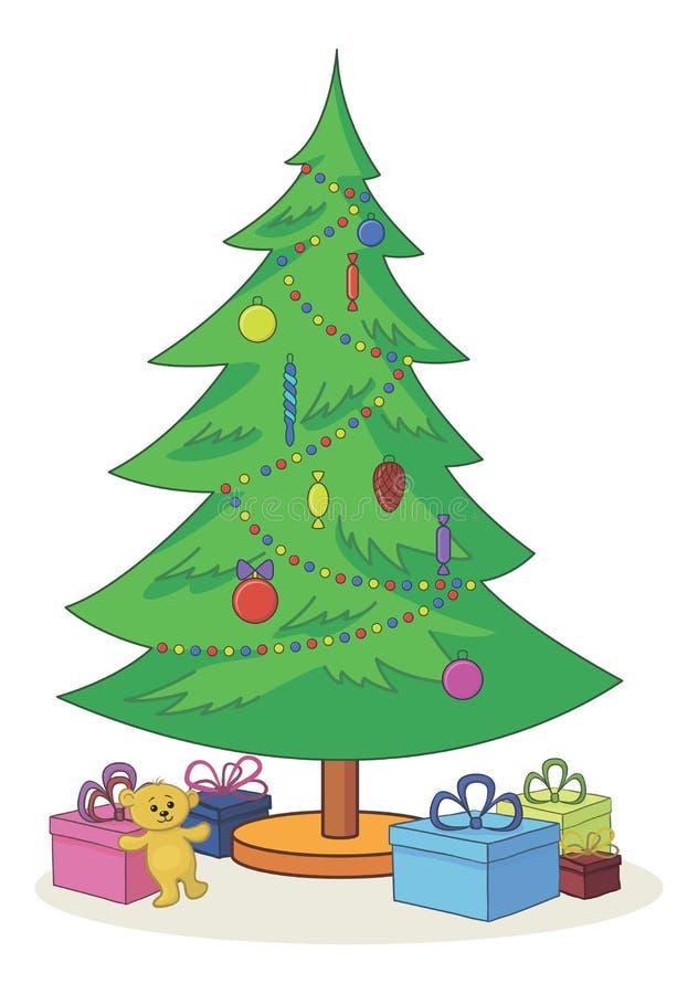 Julgran med toys och gåvaaskar stock illustrationer