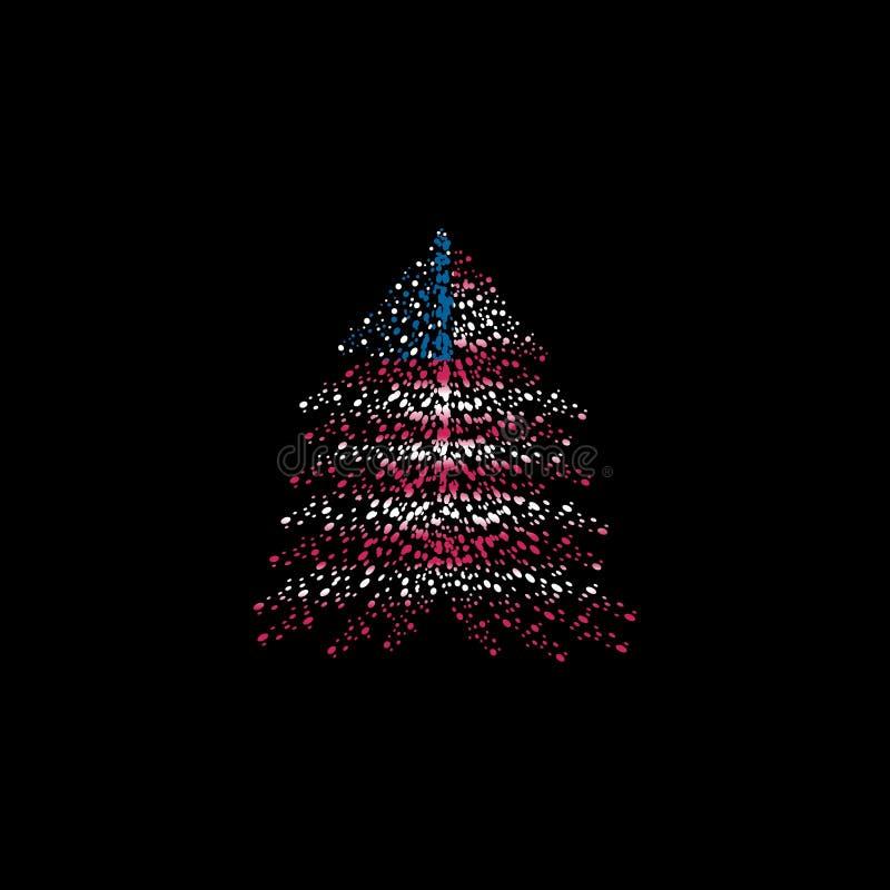 Julgran och amerikanska flaggan stock illustrationer