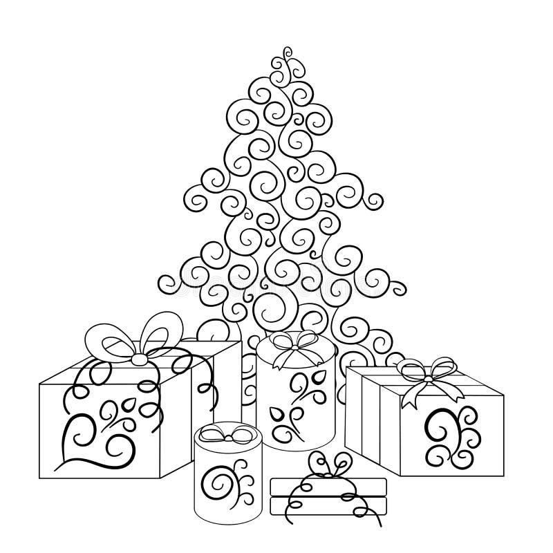 Julgran och askar med gåvor i monokrom version royaltyfri illustrationer