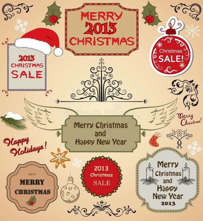 Julgran- och designelement royaltyfri illustrationer