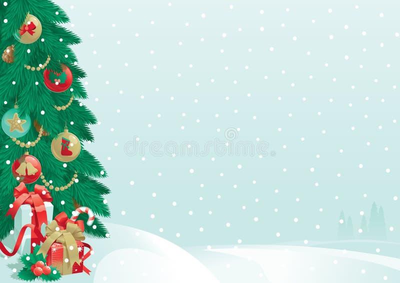 Julgran och julklappar royaltyfri illustrationer