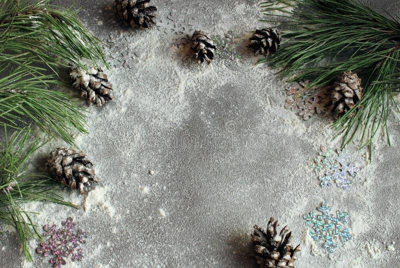 Julgran och kottar i snön på en grå bakgrund för ett hälsningkort för nytt år med fritt utrymme för text royaltyfri fotografi