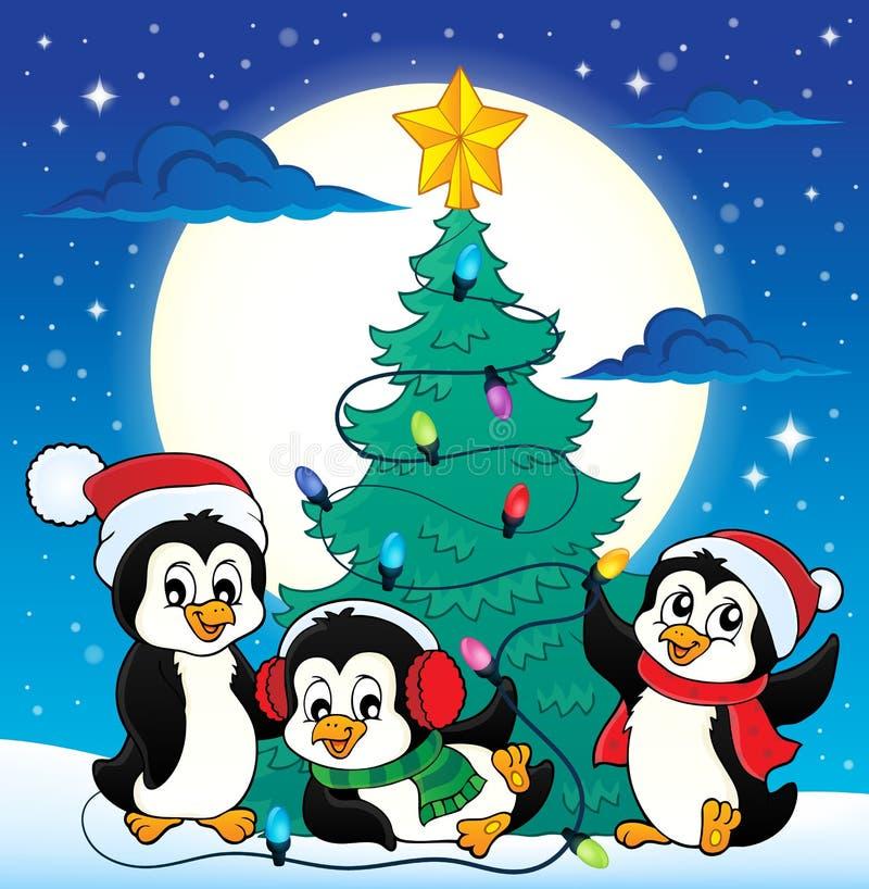 Julgran- och pingvinbild 4 royaltyfri illustrationer