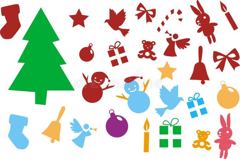 Julgran- och prydnadbeståndsdelar som isoleras på vitbakgrund royaltyfri illustrationer