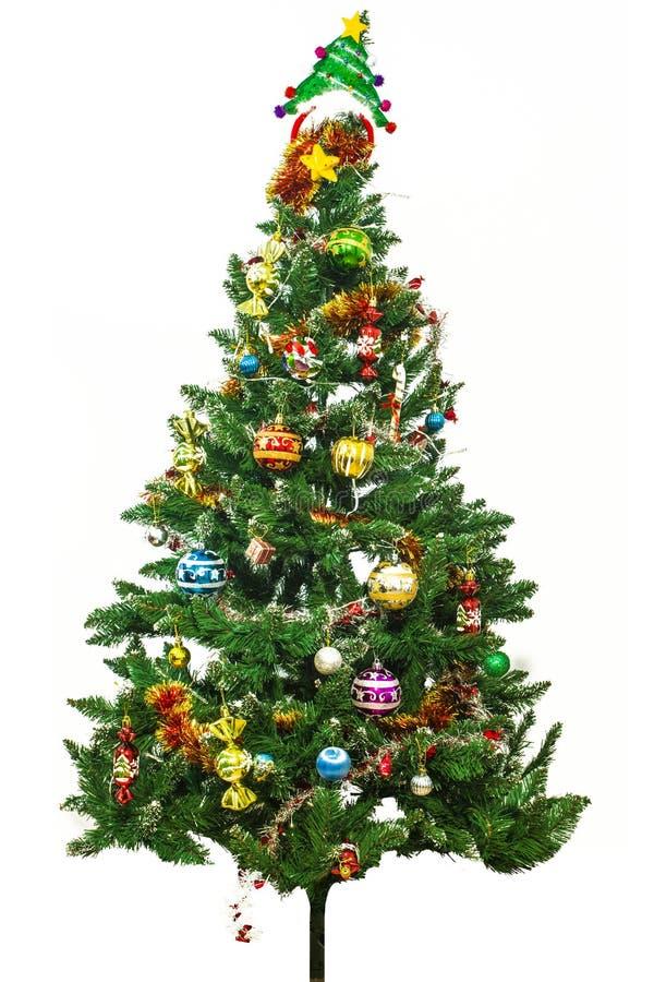 Julgran och prydnader royaltyfri fotografi