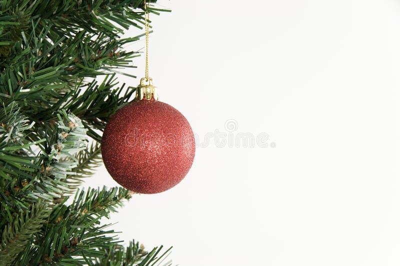 Julgran och röd prydnad på vit bakgrund royaltyfria foton