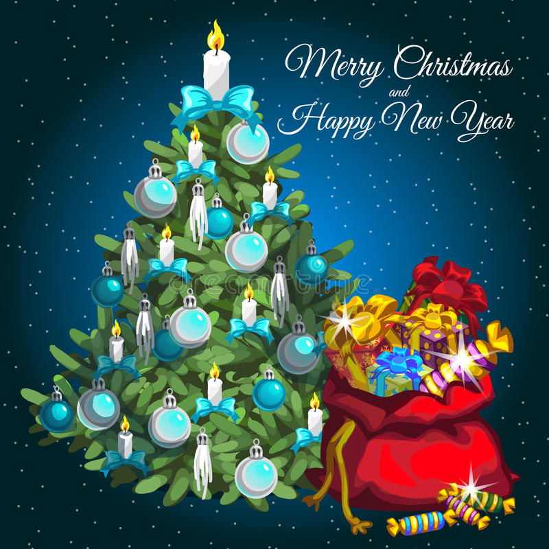 Julgran- och Santas påse med gåvor vektor illustrationer