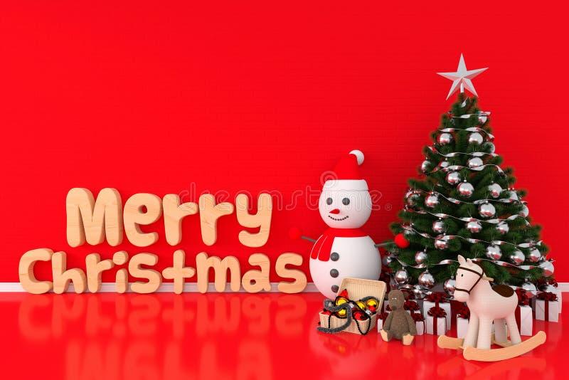 Julgran och snögubbe i rött rum, tolkning 3D royaltyfria foton