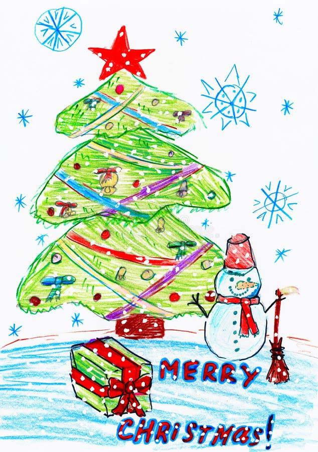 Julgran och snögubbe med gåvor, barnteckning royaltyfri illustrationer